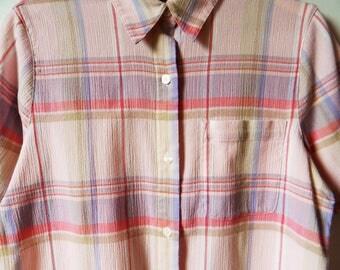 Pale Pastel Pink and Lavender Plaid Button Down / Summer Pastel Plaid Blouse / Pastel Pink Blouse / 80s Pastel Plaid