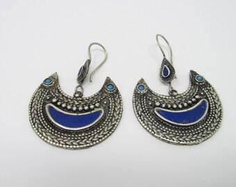 Pair Lapis Tribal Earrings