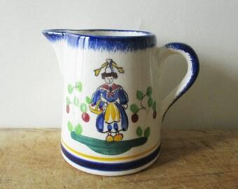 Vintage french pitcher, 1950s, Hand painted, Retro kitchen, Antique Home decor, France, Pichet, Broc, Café, Bistrot
