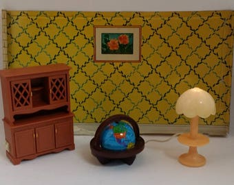 Vintage Dollhouse Fisher Price Dollhouse Furniture -- 1980 Fisher Price, Hutch / China Cabinet / Cupboard, Working Lamp, Globe, 1:16 Scale