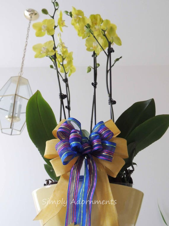 Blue Yellow Wreath bow Yellow Blue Stripes Spring Bow Easter Wreath Bow Gift basket Bow Blue yellow Gift Wrap Bow Spring Door Hanger Bow