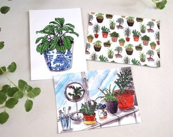 house plants postcards prints pack of 3