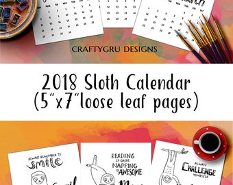 2018 calendar, monthly calendar, sloth gifts, black and white, monthly planner, wall calendar, adult coloring, coloring pages, minimalist