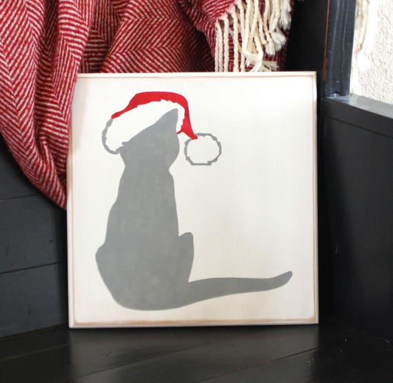 Christmas Kitty - Gray Kitty - Painted Wooden Sign - 12 x 12  - Santa Kitty - Christmas Cat - Gray Cat - Santa Cat -  Hand Painted Sign