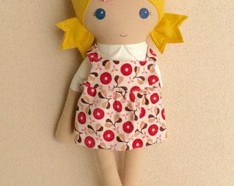 Fabric Doll Rag Doll 20 Inch Blond Haired Girl in Red and Tan Corduroy Jumper and Coral Suede Boots