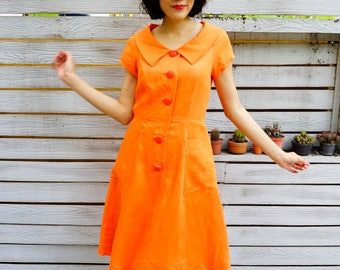 Vintage Dress, 1980s Dress, Vintage Japanese Dress, Vintage Womens Dress, Retro Clothing, 80s Dress, Secretary Dress, Orange Dress