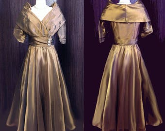 Gorgeous Vintage Watters and Watters Grand Sweep Bronze Organza & Taffeta Evening Gown Vintage Evening Gown 70s Grand Sweep Evening Gown