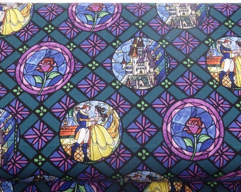 Beauty and the Beast Fabric, Walt Disney Fabrics, Stained Glass Badges, Quilting Cotton, 100% Cotton, by the half yard