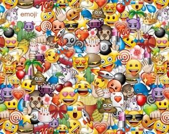 Emojis, Colorful Emoji Print, David Textiles Quilting Cotton, by the Half Yard
