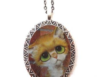 Big Eyed Cat Necklace Pendant Silver Tone - Sad Eyes Retro Kitsch Pity Kitty