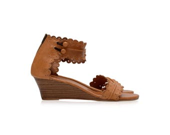 MAGDALENA. Leather wedges / leather wedge shoes / wedge sandals / women shoes / boho wedge shoes. Sizes 35-43. Available in different colors