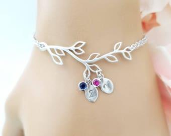 SALE! Mom Jewelry Family tree bracelet Grandmother gift Leaf bracelet rose gold initial bracelet for mom, Personalized gift