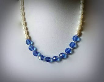 blue crystal necklace white pearly necklace white freshwater pearl necklace white Swarovski pearl necklace single strand bead necklace