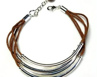 multistrand brown silver tube bracelet layered noodle cotton cord bracelet stacking layering jewelry everyday casual bracelet gifts for her