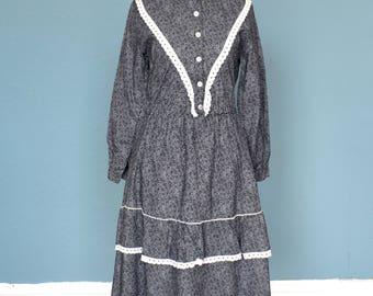 Vintage 80's Prairie Style Dress UK Size 8
