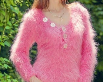 Rose pink summer mohair sweater hand knitted V neck fuzzy top blouse by SuperTanya