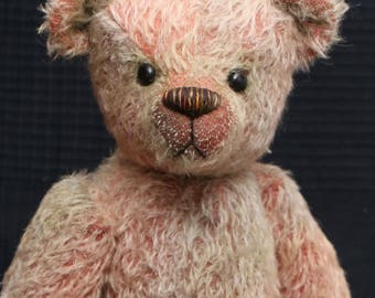Terry Cotter is a very friendly and cuddly, traditional teddy bear made from fabulously grungy hand dyed mohair by Barbara Ann Bears