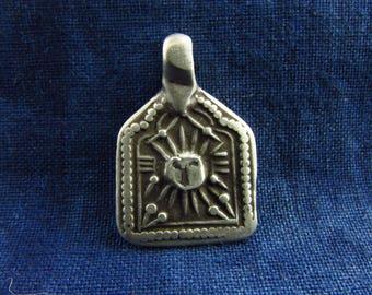 Antique Silver Surya Hindu Amulet