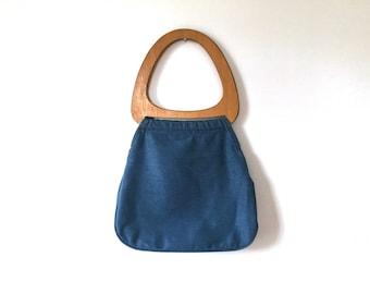 70s denim purse wooden handle purse vintage denim handbag boho purse handbag hobo bag hippie top handle purse blue big handles jean bag 1970