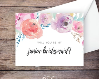 Printable Floral Will You Be My Junior Bridesmaid Card, Flowers, Instant Download Card, Be My Jr. Bridesmaid, Wedding Card – Haven