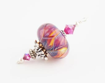 Hot Pink Lampwork Pendant | Yellow Blue Orange | Boro Glass | Necklace Focal | Handmade Pendant | Colorful DIY Necklace | The Blue Hutch