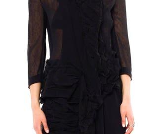 Yohji Yamamoto sheer deconstructed shirt dress