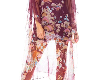 Sheer Asian Print Tunic Dress Size: 2