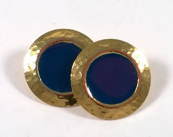 Vintage Large Gold Blue Earrings - Pierced Button Fashion Jewelry - 1980s