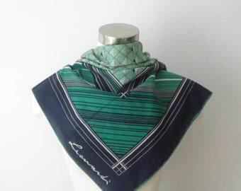 Vintage Leonardi Green Striped Square Scarf  - Bright Fashion Scarves - Womens Accessories