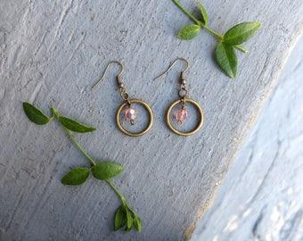 Pink Hoop and Gem Earrings / Tourmaline Hoop Earrings / Gem Earrings / October Birthstone Earrings / Bronze Circle Earrings