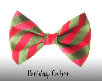 Christmas Stripe Dog Bow Tie; Red and Green Dog Collar Bow Tie: Holiday Ombre