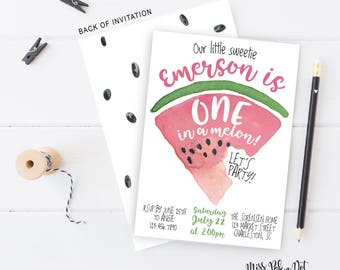 WATERMELON birthday party invitation, one in a melon, summer birthday, 1st birthday, first birthday, girl birthday, 2nd, 3rd, 4th, invite