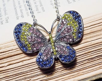 Rhinestone Butterfly Statement Necklace - Pastel