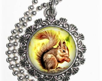 Brown Squirrel Pendant, Art Painting Resin Charm, Animal Jewelry, YessiJewels Necklace