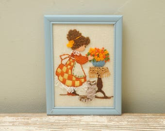 Girl with Cat Needlepoint Flowers