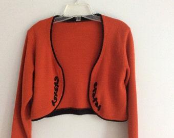 Vintage 80's Shrug Bolero Cropped Sweater Rust Burnt Orange with Black Embroidery