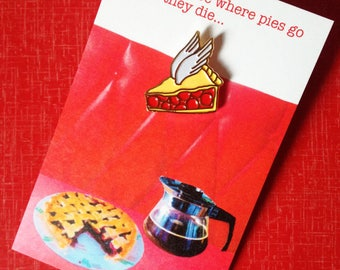 "Twin Peaks Cherry Pie Enamel Pin Badge - ""This must be where pies go when they die"" - Agent Cooper"