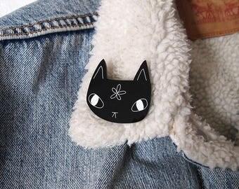 Black Cat Brooch - Cat Brooch - Laser cut cat brooch - I like cats - Black Cat - Black cat flower - Acrylic jewellery - Acrylic brooch - cat