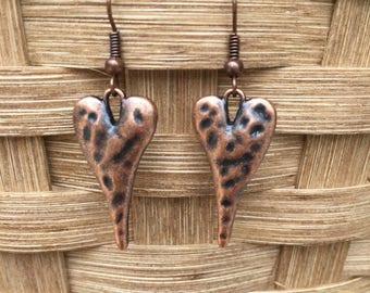 Heart Earrings Heart Jewelry Copper Heart Earrings Copper Earrings Valentines Gift Love Earrings Made in USA Cute Earrings Made in Texas