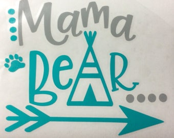 Mama decal, mama bear, Mama bear decal, momma bear decal, mama bear car decal, mother's day gift, gift for mom, tumbler decal, 2.5 in