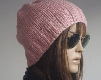 Womens hats, winter hat, oversize cable Knit Hat pink Winter Accessories, Women Slouchy Hat, valentines day