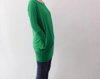 Tunic Dress, Tunic, Tunic Shirt, Mini Dress, Oversized Top, Green Tunic Dress, Grasgreen Tunic Dress, Green Tunic, Green Dress, Grass Green