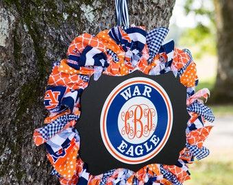 AUBURN TIGERS WREATH by Sweet Georgia Sweet / Auburn Wreath monogram / University War Eagle wreath / College football wreath / Fall wreath