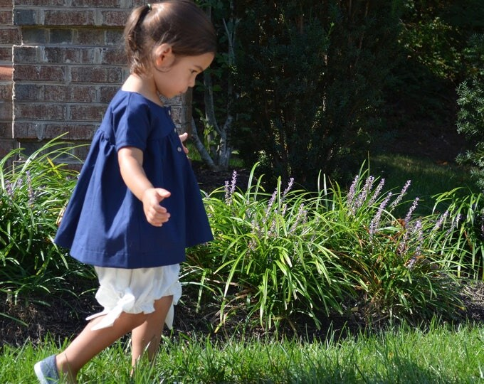 Navy Blue Girl's Dress - Empire Waist Dress - Size 2-3 Dress - Children & Toddler Clothing - Simple Girl's Dress - Handmade Wedding