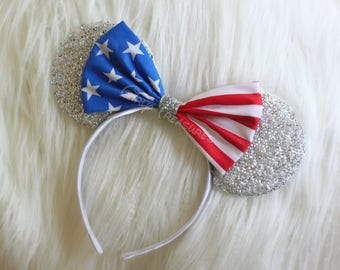 Patriotic Mouse Ears. 4th of July Mouse Ears Headband. Red White Blue Mouse Ears. Women Mouse Ears. Girls Mouse Ears. One Size Fits Most.