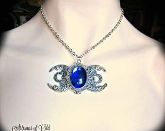 Triple Goddess Necklace, Sapphire Blue Pendant, Czech Glass cabochon, Triple Moon Necklace, Filigree Crescents