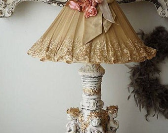 Cherub table lamp antique French Tambour lace lampshade shabby cottage chic statue lighting w/ ornate lamp shade decor anita spero design
