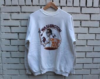 Vintage WASHINGTON D.C. Football Team Sweatshirt Size XL X-Large On The Warpath NFL Football Sportswear Athletic