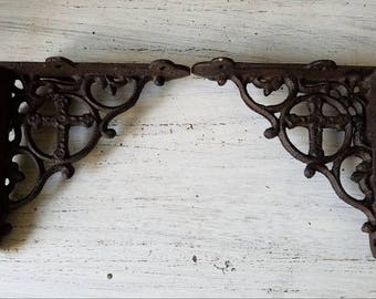 2 brackets small cross wall shelf bracket metal brackets farmhouse