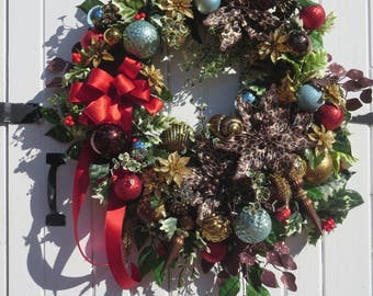 XL Christmas Wreath, Coastal Wreath, Christmas Door Wreath, Bronze Seashell Ornaments, Seashell Wreath, Christmas Front Door Wreath